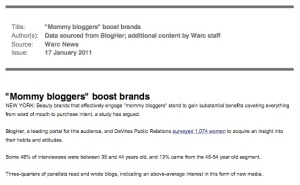 Claim that mummy bloggers boost brands