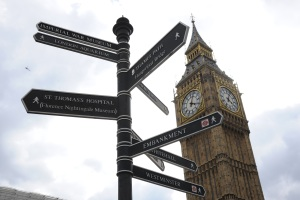 Big Ben and directions signs