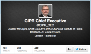 CIPR CEO Twitter Disclaimer