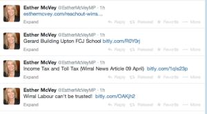 Esther McVey Memorial Tweets